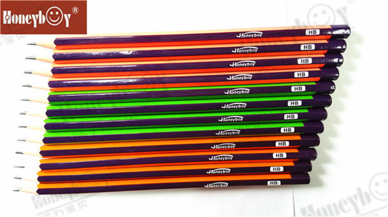 PVC Box Packing Dipped Hex Stripe Paint Pencil with Logo