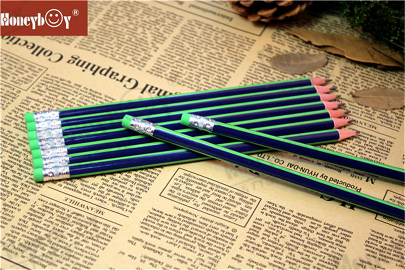 Stripe Paint Pencil with Green Eraser From Large Scale Factory